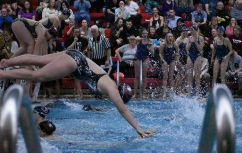 An EHS swimmer dives into the second leg of the 200 yard freestyle relay.