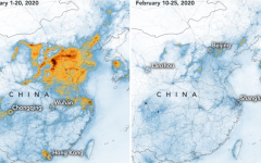 Impact of the drop in pollution in China as shown from Satellites, Image Courtesy of NASA.