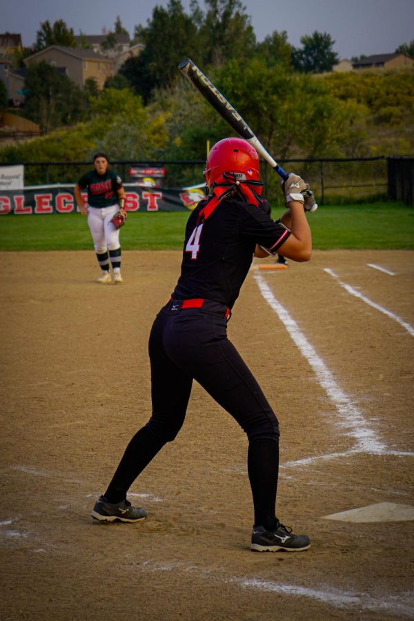 Jayden Paulsen (#4) in her batting stance ready for any pitch to come at her.