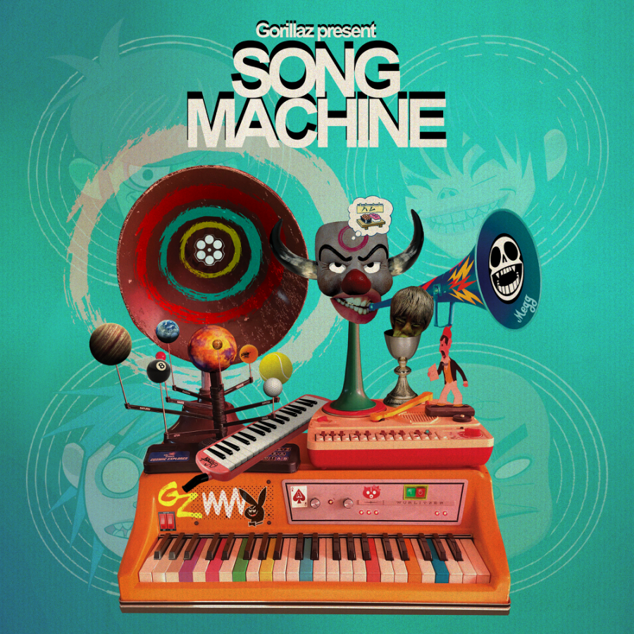 The+album+art+for+Song+Machine%2C+drawn+by+the+bands+co-creator%2C+Jamie+Hewlett.+%28Image+courtesy+of+Gorillaz%29