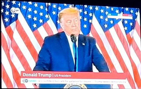 Image of Donald Trump giving a speech on the night of November 3, 2020. Image Courtesy of Deutsche Welle and Edmond Kunath.