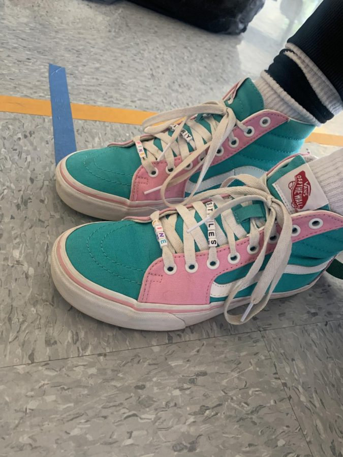 """What my shoes say about me is that I love bright and fun colors and it reflects my personality!"""