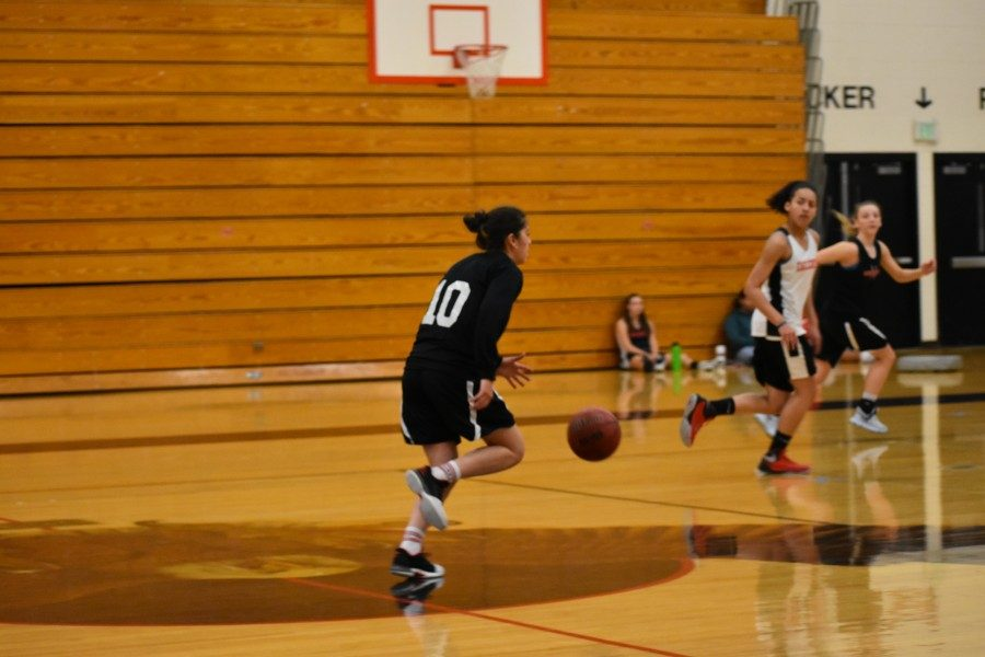 Ballers in Paradise: Eaglecrest Girl's Basketball senior, Mayra Malsam, brings the ball up the court and sets up a play.