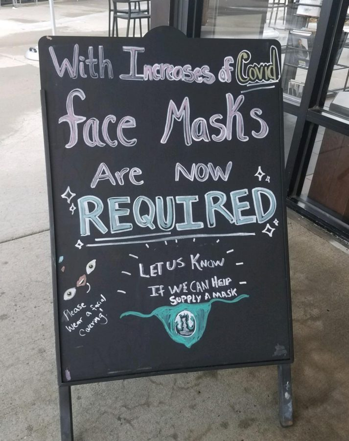 Once Colorado's mask mandate went into effect, many stores, like this Starbucks, put up signs requiring customers to wear face masks.