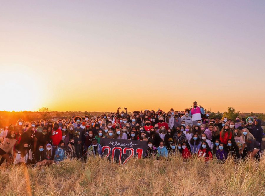 The Class of 2021 at senior sunrise.