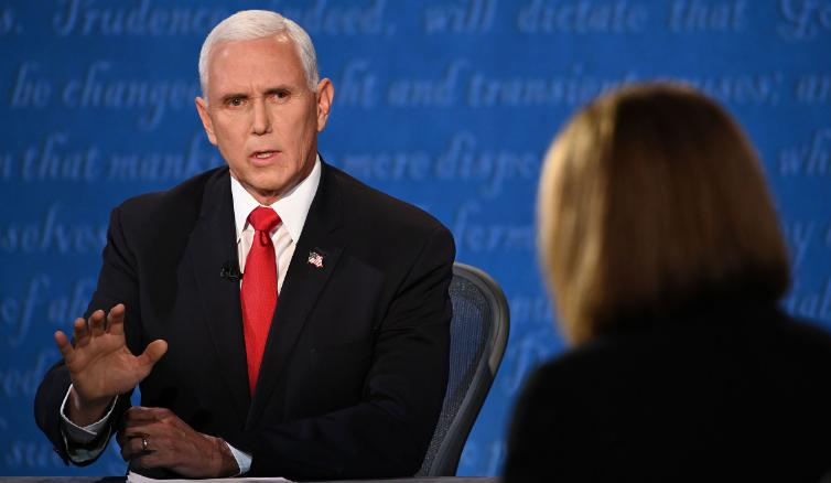 Republican Vice Presidential candidate Mike Pence speaks at the Vice Presidential debate on Wednesday, October 7, 2020, addressing moderator Susan Page's questions regarding COVID-19 in the White House.