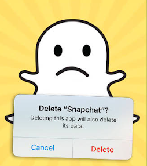 Deleting Snapchat. Photo from PopBuzz.com