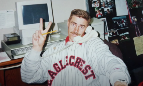 John Green in his office at Eaglecrest during the '90s, serving as a science teacher, a track coach, and an athletic director during his time at EHS.