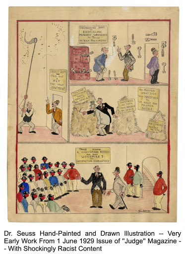 A political cartoon drawn by Seuss in the 1920s features a gross depiction of the sale of black people. (Nate Sanders, Fine Autographs & Memorabilia)