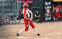 Megan Wilcox batting during a softball game at EHS (Megan Wilcox).