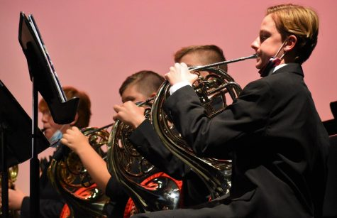 Horn players Declan Suttman, Spencer Wakefield, and Cassidy Bailey play in Symphonic Band, performing Nessun Dorma, arranged by Johnnie Vinson.